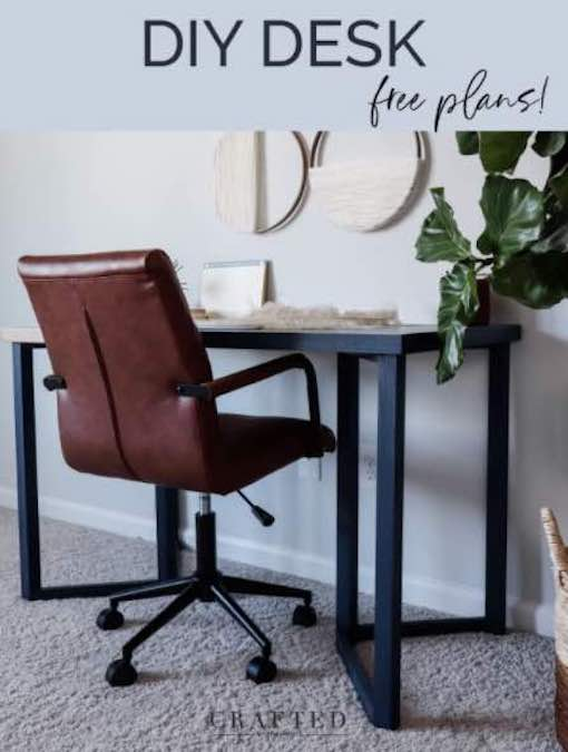 Free plans to build a Simple Modern Desk.