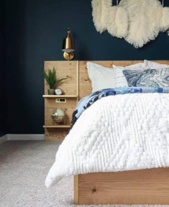 Free plans to build the Easiest DIY Platform Bed.