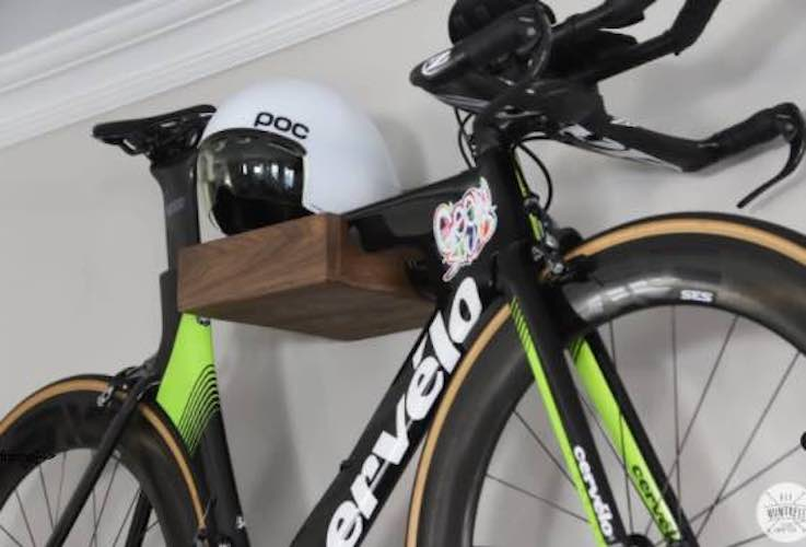 Free plans to build a Modern Wall Mounted Bike Rack.
