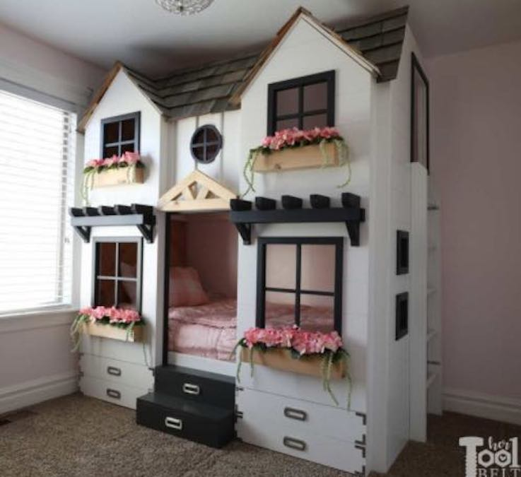 Build this House Bunk Bed using free woodworking plans.
