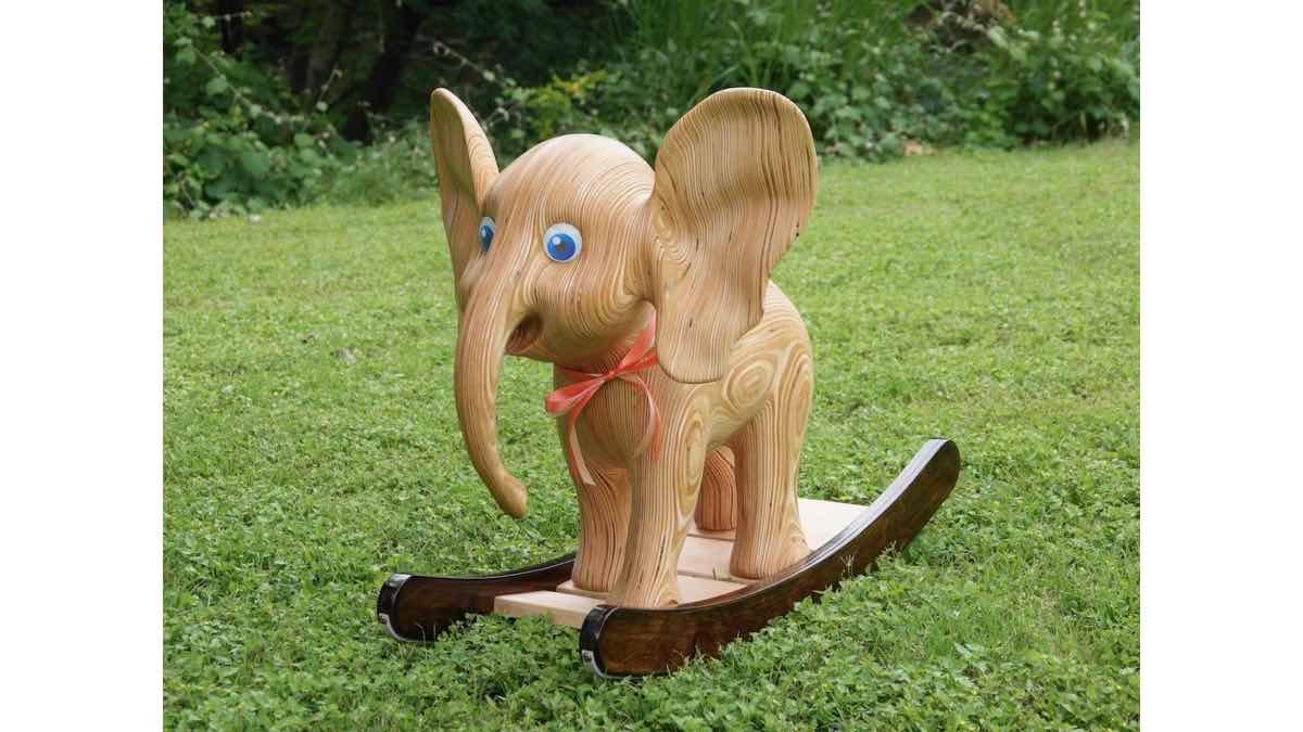 Carved Plywood Rocking Elephant