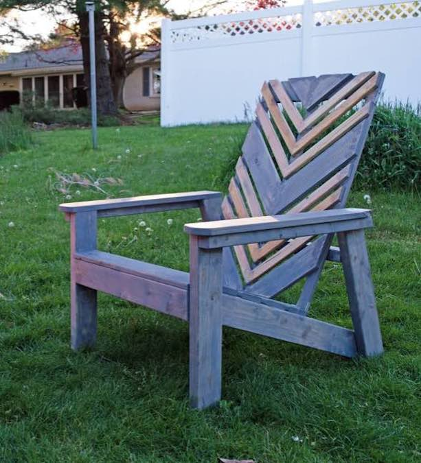 Build a Chevron Adirondack Chair using free plans.