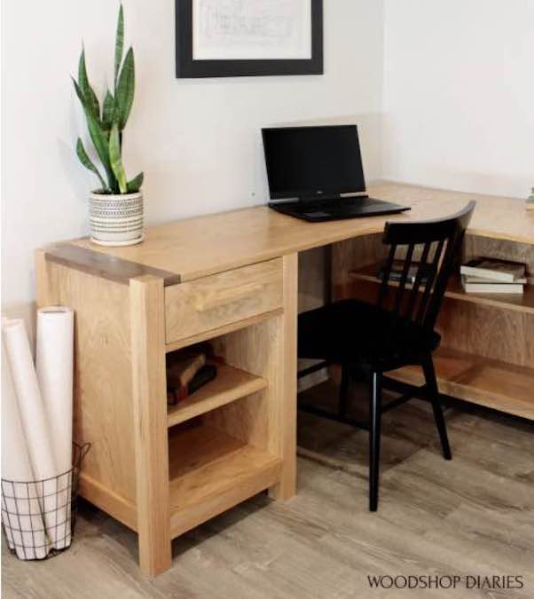 Build an L Shaped Desk With Shelves using free plans.