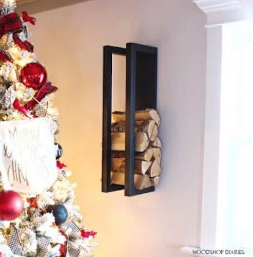 Build a Wall Hanging Firewood Rack using free plans.