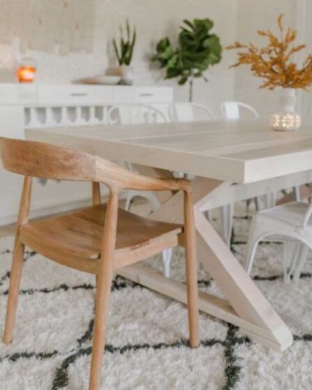 Build a Modern Farmhouse Table using free plans.