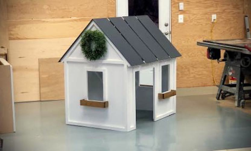 Build a Farmhouse Indoor Playhouse using free woodworking plans.