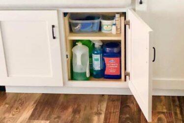 Build this handy Cabinet Storage Organizer H Shelf using free plans.