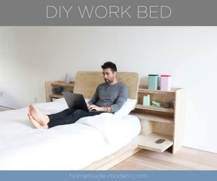 Build this awesome Work From Home Platform Bed using free plans.