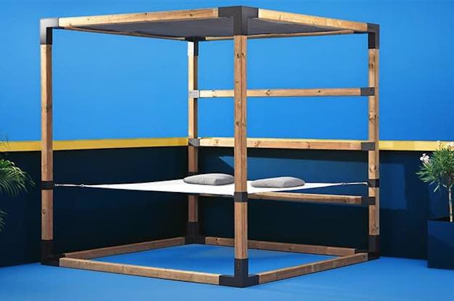 Free plans to build a simple Hammock Gazebo.