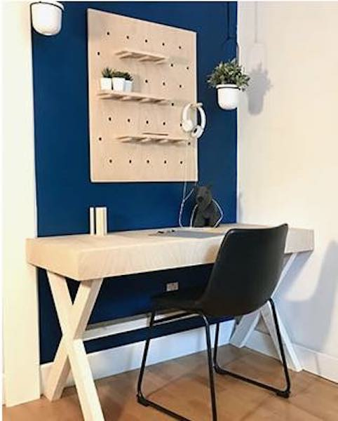 Free plans to build both the Desk and Pegboard.