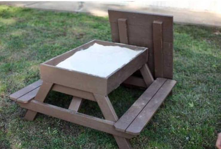 Build a Sandbox Picnic Table For Kids using free plans.