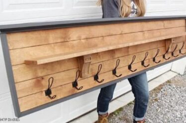 Build this DIY Coat Rack With Shelf using free plans.
