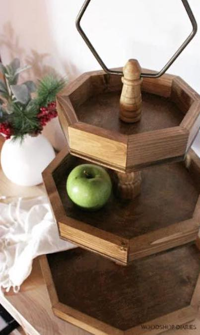 Build a 3 Tier Wooden Tray using free plans.