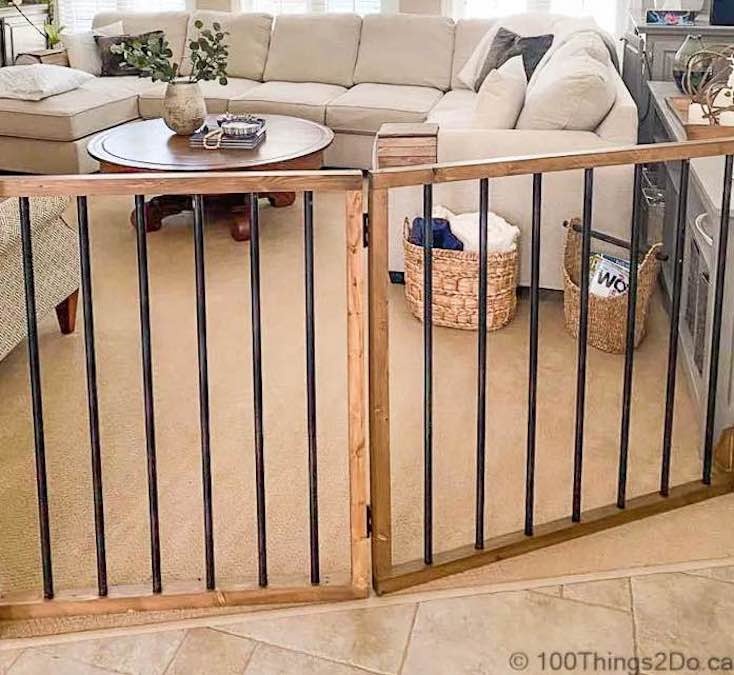 Build a Freestanding Pet Gate using free woodworking plans.