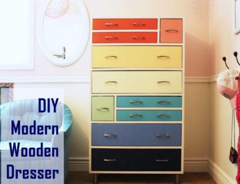 Free plans to build a Modern Wood Dresser.