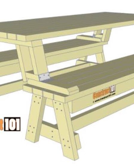 Build a Folding Picnic Table using free woodworking plans.