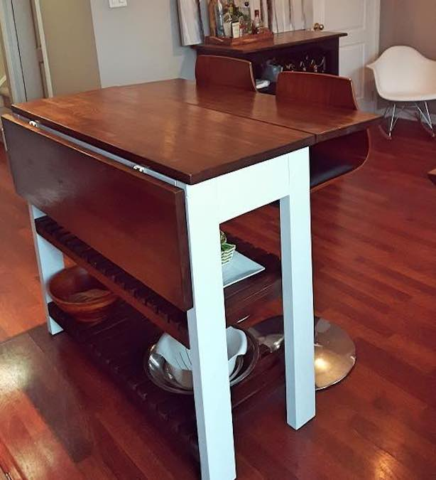 Free plans to build a Drop Leaf Kitchen Island.