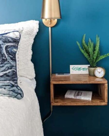 Build an Easy Floating Nightstand using free plans.