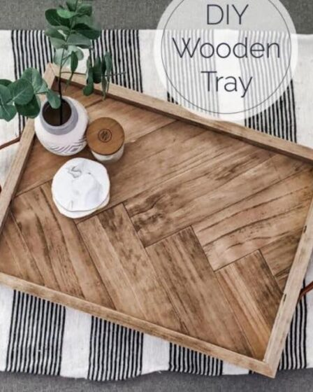 Free plans to build your own Herringbone Serving Tray.