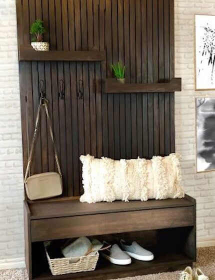 Build a Hall Tree With Storage Bench using free plans.