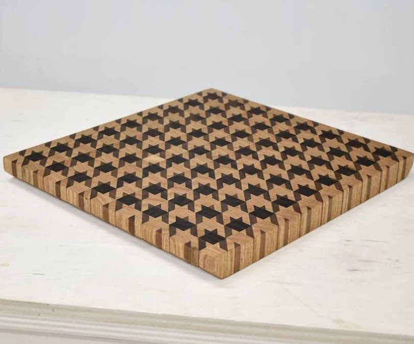 Make your own Houndstooth Pattern Cutting Board using free plans.