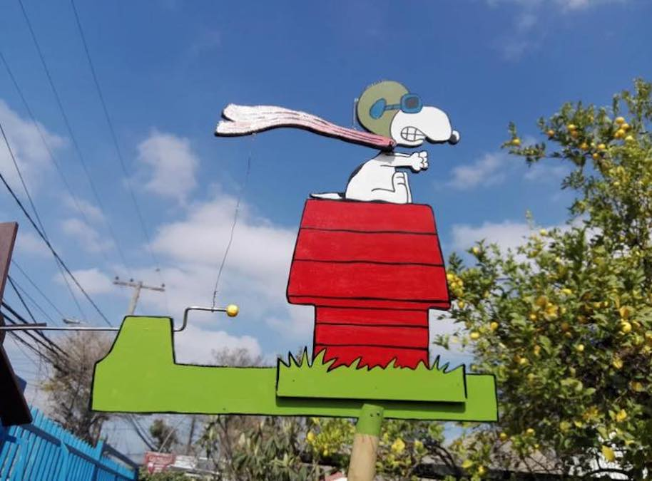 Build your own backyard Snoopy The Baron Whirligig using free plans.