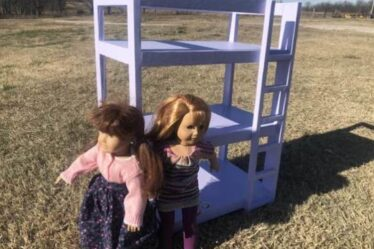 Build this Doll Triple Bunk Bed using free plans.