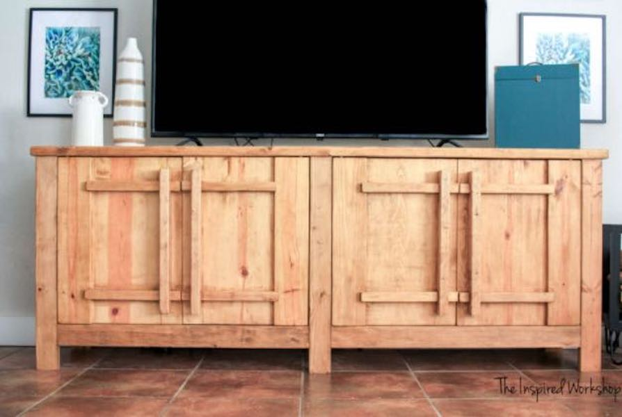 Free plans to build your own Tv Stand Media Console.