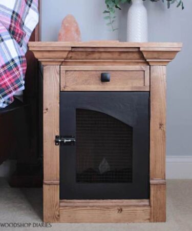 Free plans to build a DIY Dog Crate/End Table.