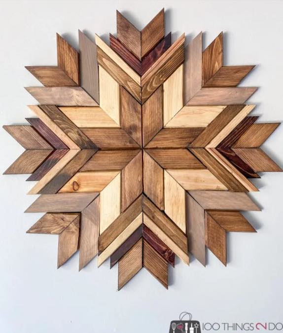 Make your own Wood Art Mosaic using free plans.