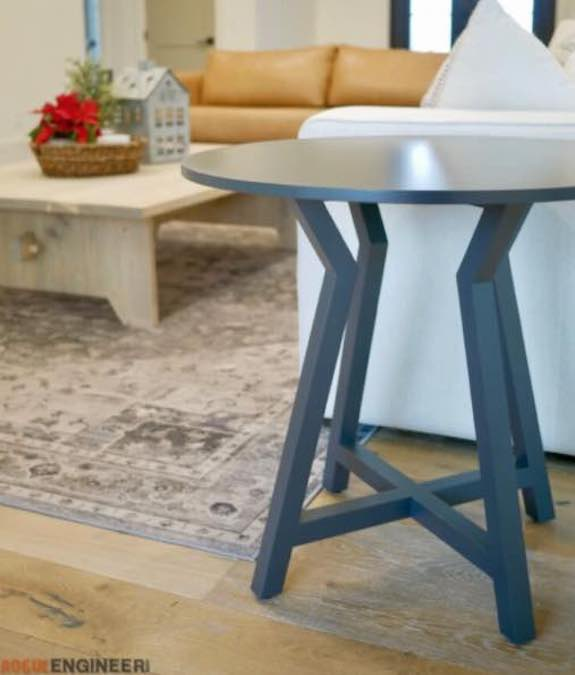 Build an Oversized Round Side Table using free plans.