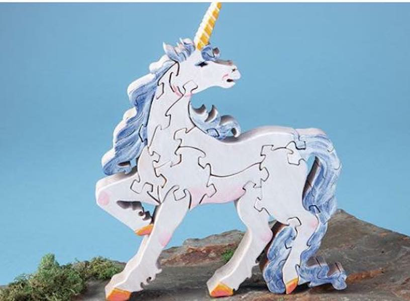 Make your own Unicorn Puzzle using this free Scroll Saw Pattern.