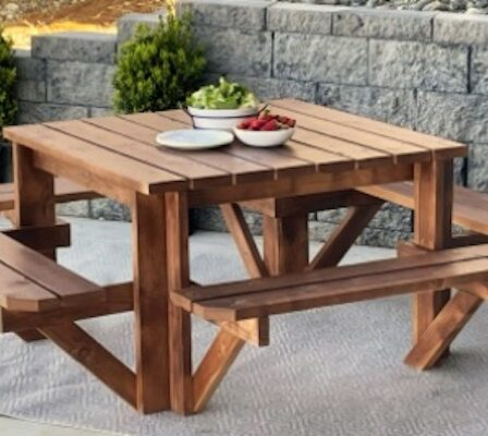 Free plans to build your own Square Picnic Table.