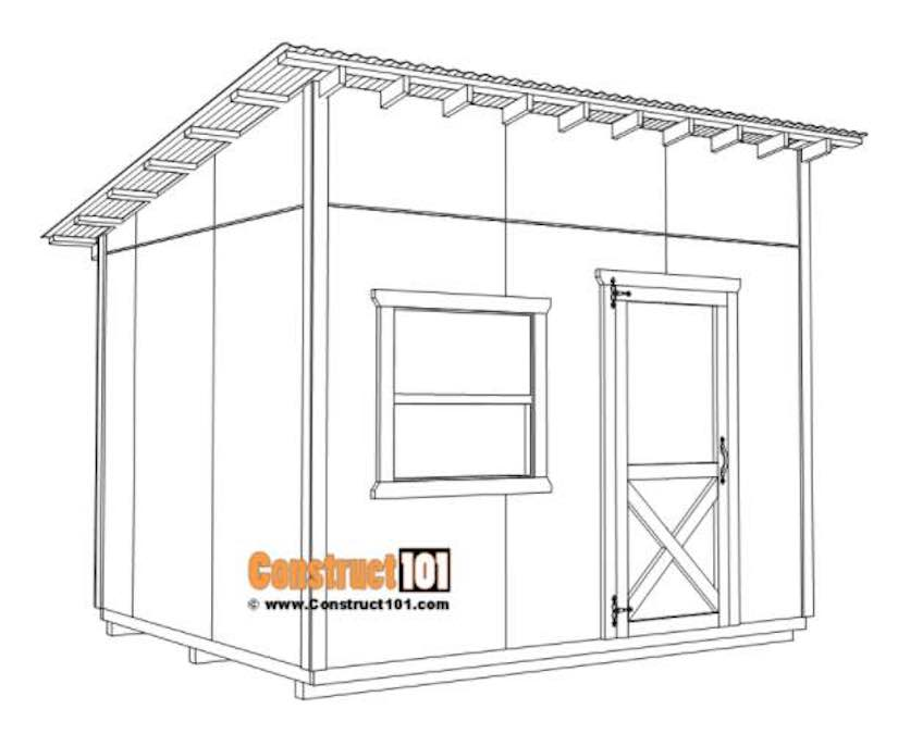 Build a large lean to shed using free plans.