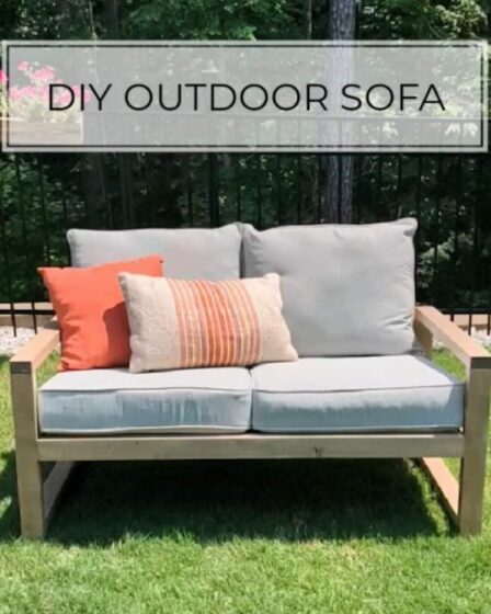 How to build a DIY Outdoor Sofa with free plans.
