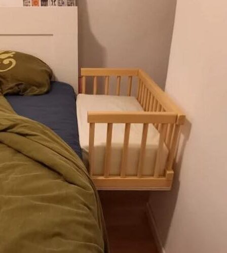 Build a Foldable And Compact Co-Sleeper with free plans.
