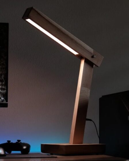 Build a Wooden Desk Lamp using free plans.