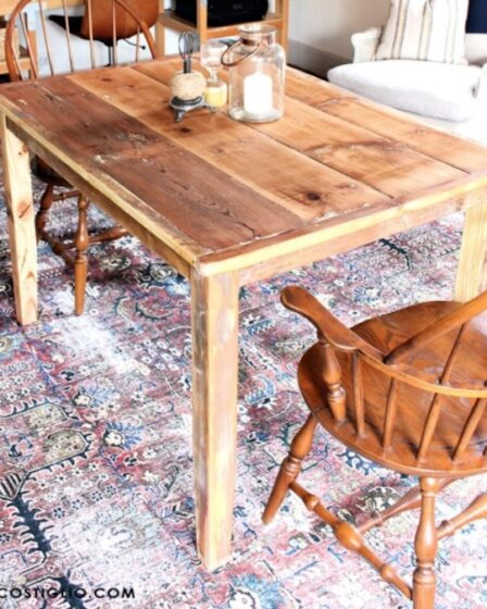 Build a Shiplap Simple Table using free woodworking plans.