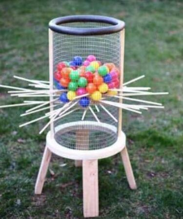 Build a backyard Giant Kerplunk Game using free plans.