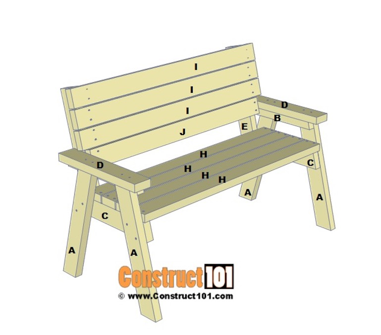 Build an Outdoor Bench Using 2 x 4s and free plans.