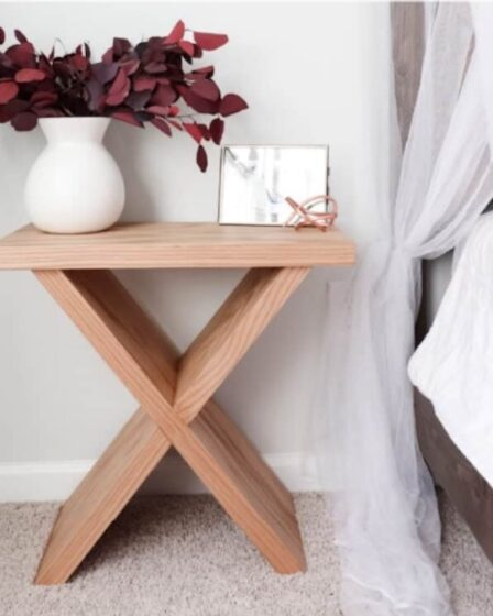 Free plans to build an X Base Side Table.
