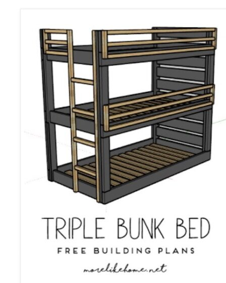 Free plans to build a set of Triple Bunk Beds.