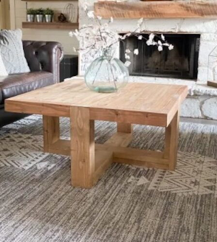 Build a Chunky Square Coffee Table using free plans.