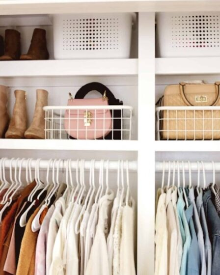 Free plans to build a Divided Built-In Closet.