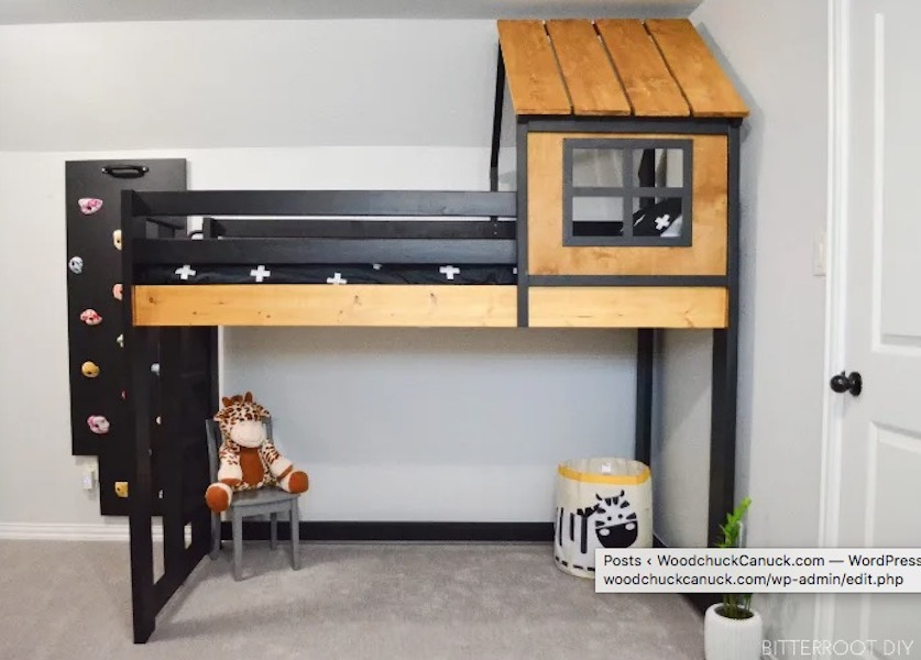 Build this House Loft Bed using free plans.