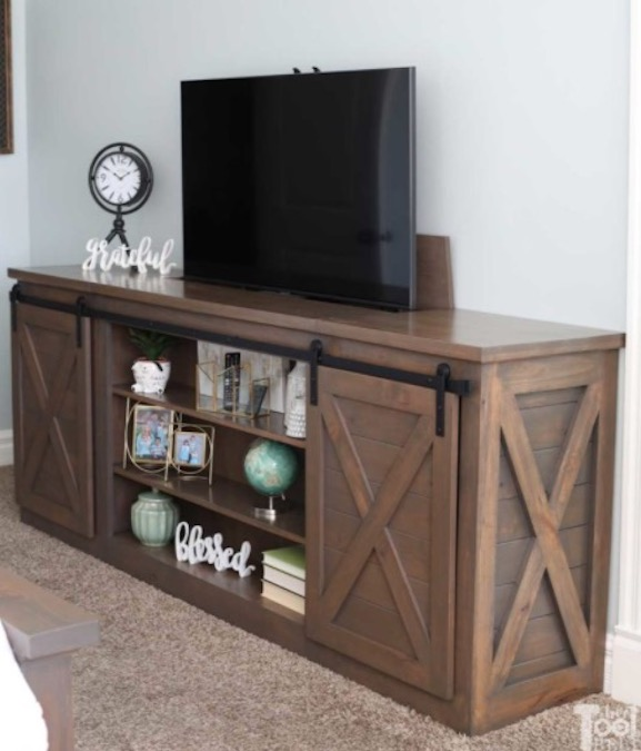 Build a Console Table With Hidden TV Lift using free plans.