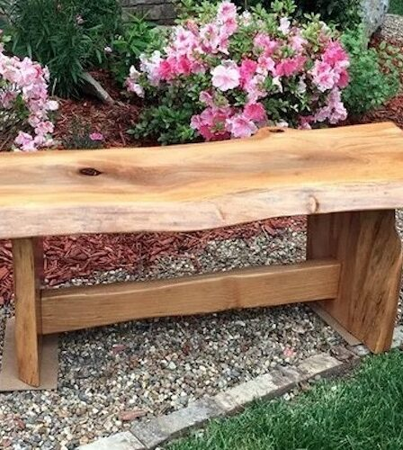 Build this Live Edge Garden Bench using free plans.