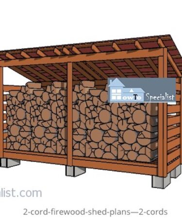 Build a Firewood Shed 4 x 12 Feet for 2 Cord using free plans.