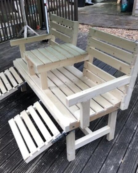 Build a Double Seat Garden Bench using free plans.