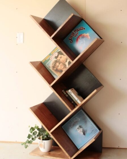 Free plans to build this Unique Shelf Unit.